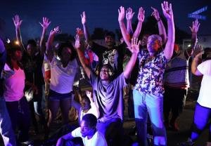 Missouri protestors with their hands up!